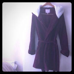 Victoria Secret fleece robe with faux fur hoodie